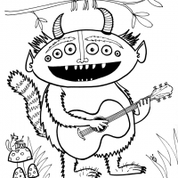 Monster playing guitar-small