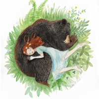 Girl and Bear Sleeping 5x7small