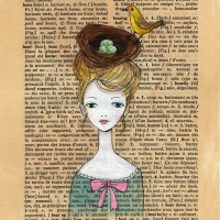 Book Page W - Yellow Bird, Nest & Eggs Headdress